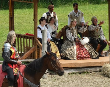 At 2:15 a jousting match was held.  The man on horseback was the herald and the king and queen welcomed everyone.