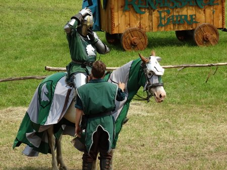 With the help of his page, the green knight prepared for the fight to the death.