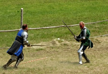 The two knights got into hand-to-hand combat.
