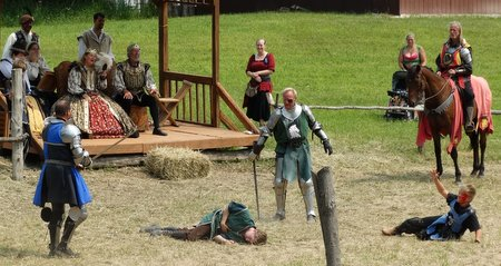 The blue knight killed his page, so the green knight took the eye of the blue knight's servant boy.