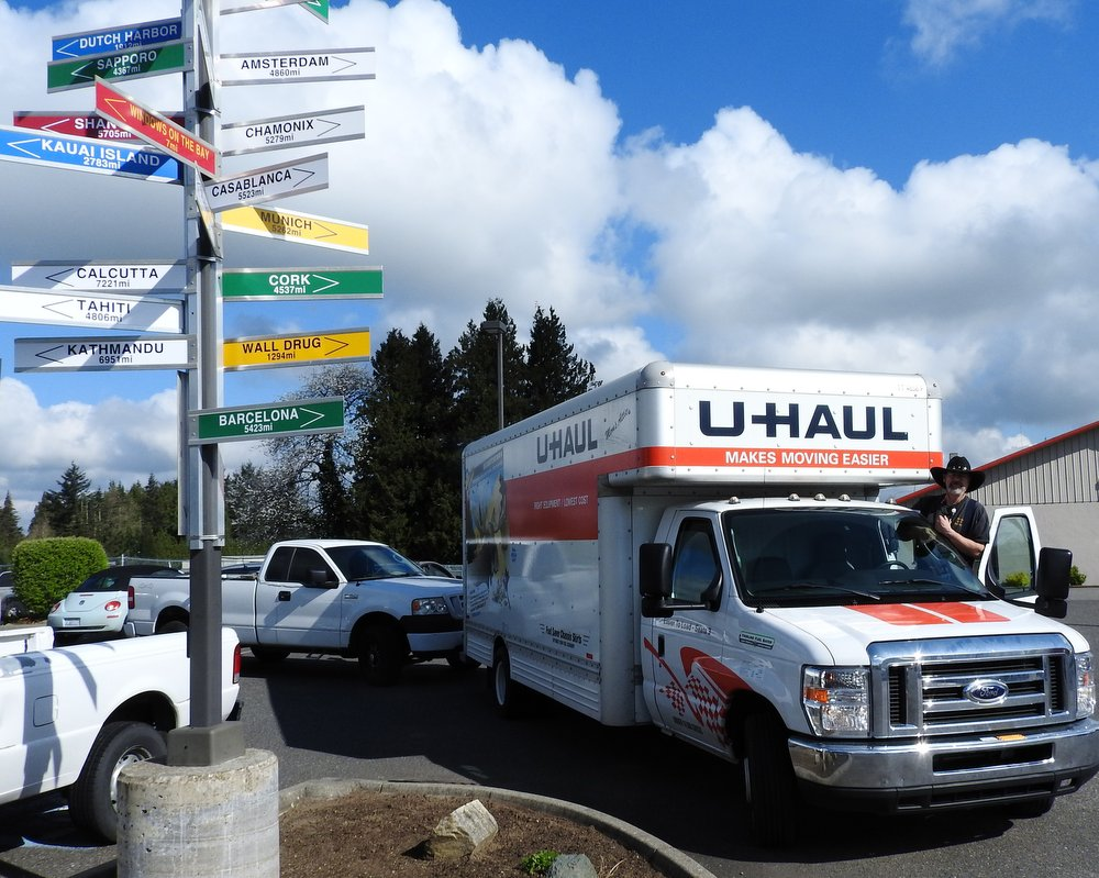 The U-Haul truck towing our truck, ready to roll!
