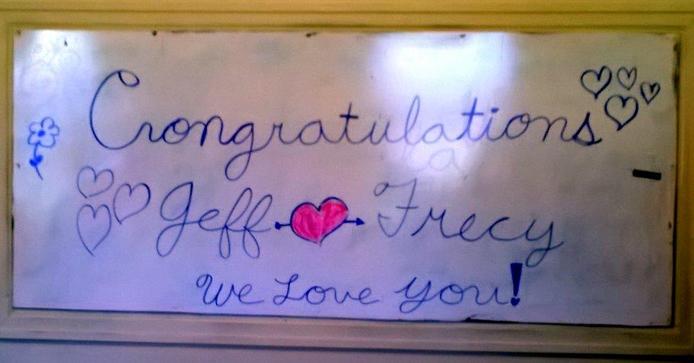 Someone wrote a congratulatory note on the white board.